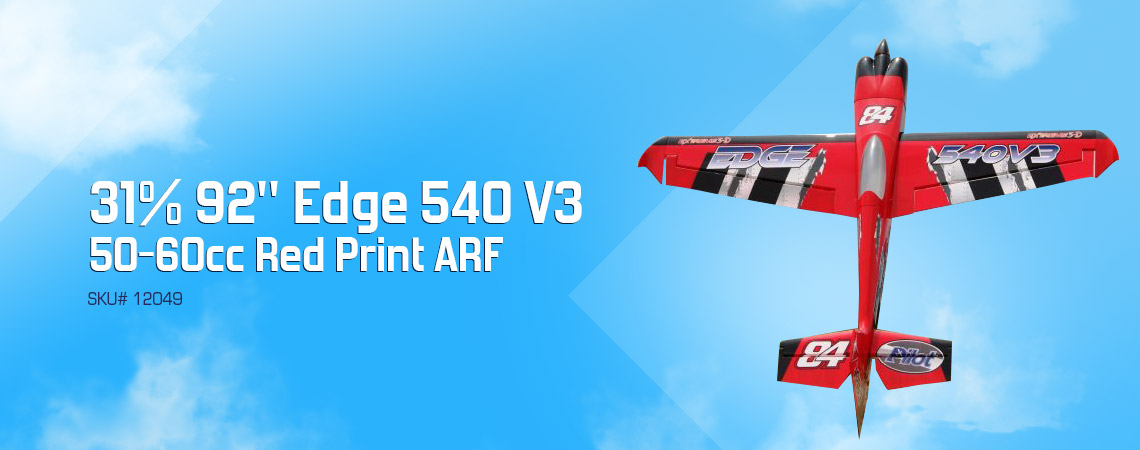 "Skip to the beginning of the images gallery 31% 92"" Edge 540 V3 50-60cc Red Print ARF"